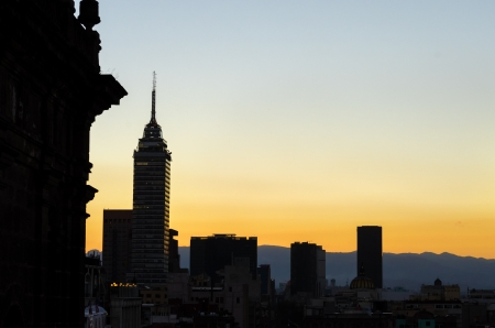 Silhouette skyline of Mexico City at dusk Stock Photo