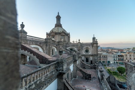 View from the roof of the cathedral in Mexico City in the late afternoon Redakční