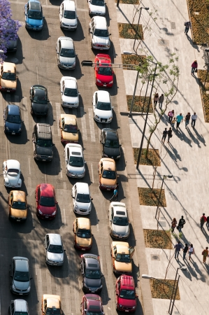 Aerial view of traffic jam in Mexico City