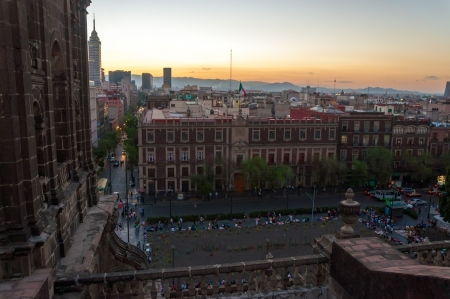 View of the Zocalo in Mexico City from the cathedral