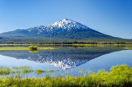 Mount Bachelor being reflected in Sparks Lake near Bend, Oregon photo