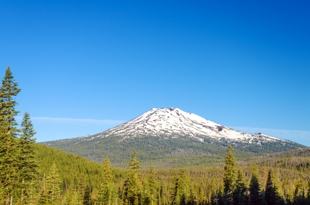 oregon  snow: Early summer view of Mt  Bachelor with a beautiful green forest below it  Stock Photo