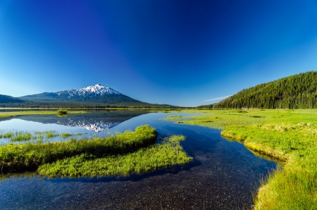 Mount Bachelor being reflected in Sparks Lake as seen from a meadow near Bend, Oregon