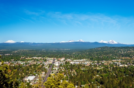oregon cascades: View of Bend and part of the Cascade Mountain Range in Central Oregon