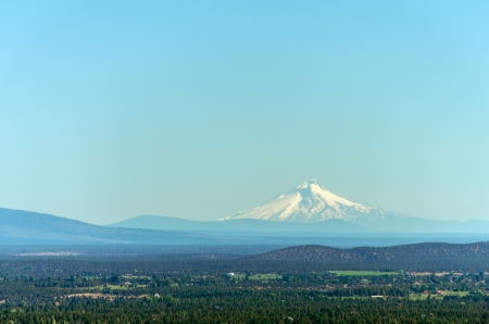 mt hood: View of Mt  Hood, the second tallest mountain of the Cascade Range Stock Photo