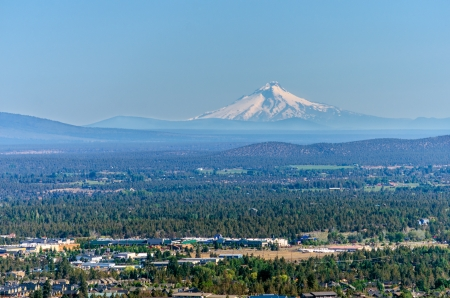 oregon  snow: View of Mt  Hood and the city of Bend in Central Oregon Stock Photo