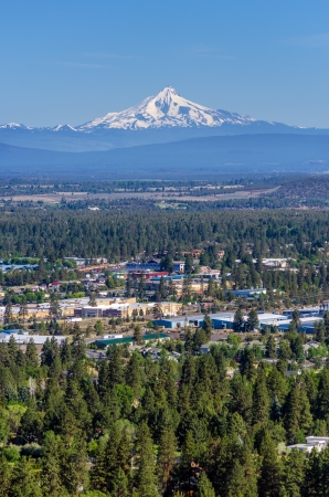 Vertical view of Mount Jefferson and the city of Bend in Central Oregon