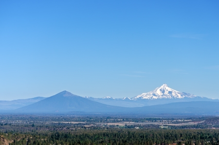 waterfall in the city: Mount Jefferson and a beautiful valley in Central Oregon
