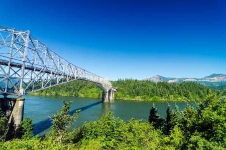 gorge: View of the Bridge of the Gods as seen from Oregon crossing the Columbia River into Washington Stock Photo