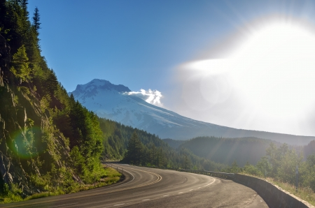 mount hood national forest: View of Mt  Hood and bright sunlight