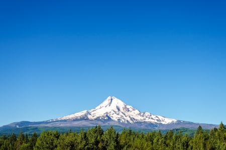 mount hood national forest: Mt  Hood viewed in early summer before the snow has melted off