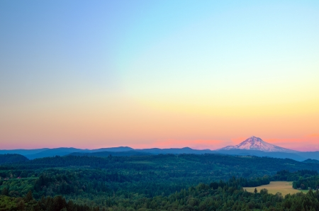 mt  hood national forest: Wide angle view of Mount Hood at sunset Stock Photo