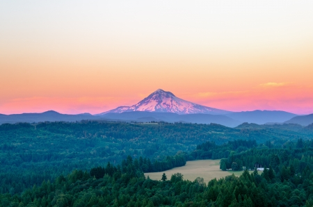 mt  hood national forest: Mount Hood at sunset with a purple glow
