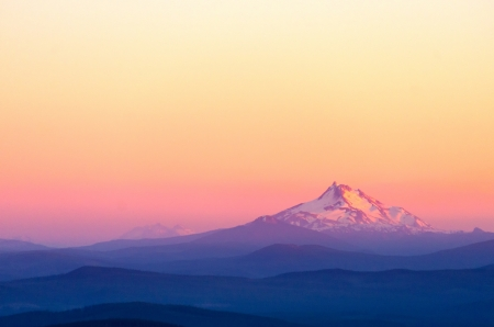 Sunset over purple looking Mount Jefferson photo