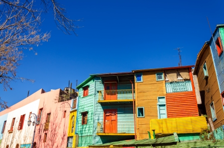 la boca: Brightly painted buildings in La Boca neighborhood of Buenos Aires, the birthplace of Tango Stock Photo