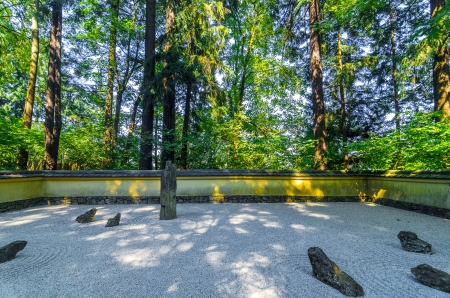 rock garden: View of a Japanese Rock garden with trees behind it