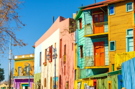 latin  america: Bright colors of Caminito street in La Boca neighborhood of Buenos Aires, Argentina