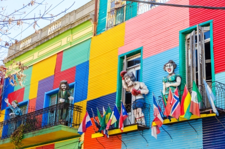 Colorful building and statues in La Boca neighborhood of Beunos Aires, Argentina Editorial