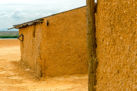 mud house: Mud shack in a desert region in La Guajira, Colombia