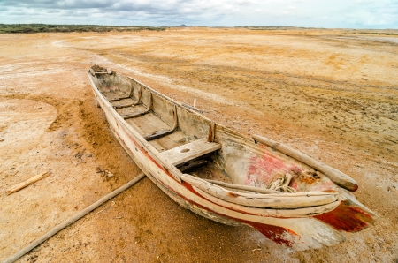 dugout: Old dugout canoe stranded in a desert