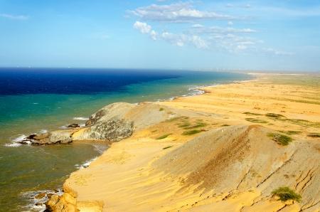 Desert landscape and seascape near Cabo de la Vela in La Guajira, Colombia Stock Photo