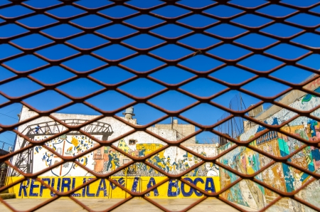BUENOS AIRES - AUGUST 15  Grafitti in La Boca neighborhood of Buenos Aires on August 15, 2013   La Boca is one of the main tourist destinations in the city and is also the birthplace of tango