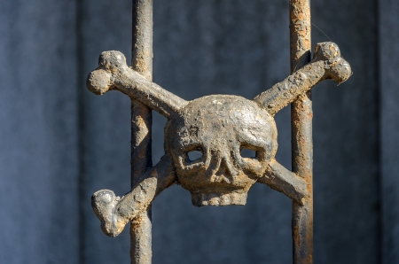 Iron skull and crossbones decorating a tomb in Recoleta cemetery in Buenos Aires, Argentina photo