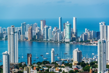 medellin: View of skyscrapers in the Bocagrande neighborhood of Cartagena, Colombia Editorial