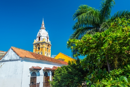 View of the cathedral of Cartagena, Colombia next to lush green trees Stock Photo - 24451709