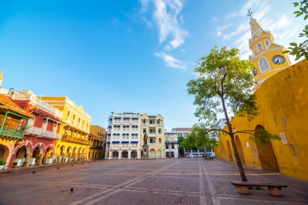 Plaza next to the clock tower gate in the heart of the old town of Cartagena, Colombia Stock Photo - 24453308