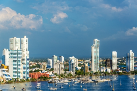 View of the marina and tall apartment buildings in the modern section of Cartagena, Colombia Stock Photo