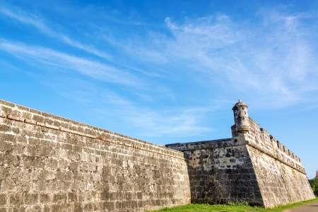 Section of the defensive wall that surrounds the old historic center of Cartagena, Colombia