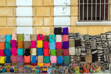 Souvenir bags for sell in Cartagena, Colombia   The style is typical of the Wayuu Indians Stock Photo