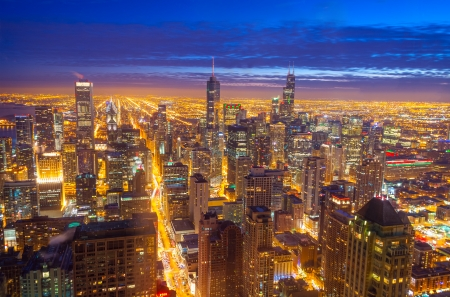 willis: Night time view of downtown Chicago Stock Photo