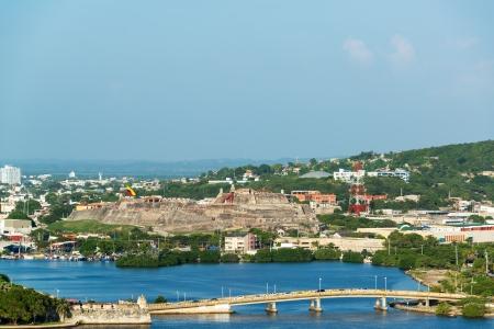 barajas: View of a bridge and San Felipe de Barajas castle in Cartagena, Colombia