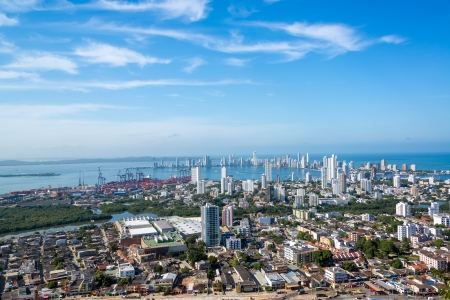 Panoramic view of the modern section of Cartagena, Colombia