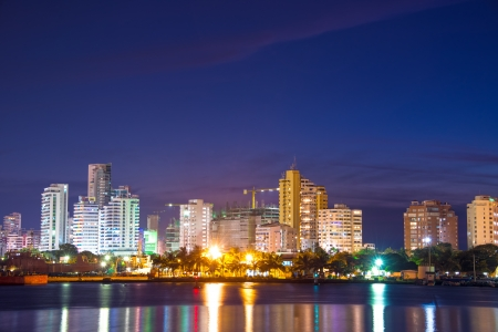 Nighttime view of the modern part of Cartagena, Colombia