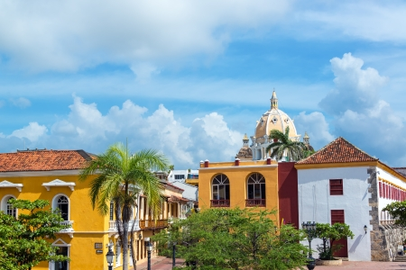 south american: Historic colonial buildings and San Pedro Claver church in the center of Cartagena, Colombia