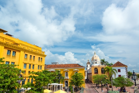 Historic colonial plaza in Cartagena, Colombia
