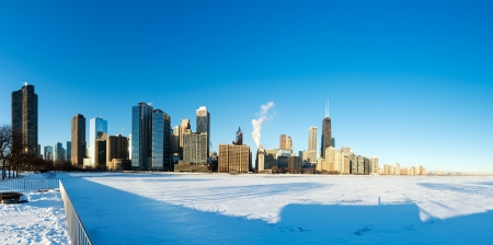michigan snow: Panoramic view of downtown Chicago with frozen Lake Michigan in the foreground