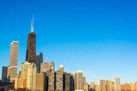 hancock building: View of Chicago skyscrapers with a beautiful deep blue sky Stock Photo