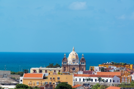 Historic center of Cartagena, Colombia with San Pedro Claver church featuring prominently in the center of the photograph Stock Photo