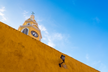 walled: The clock gate marks the main entrance into the historic colonial center of Cartagena, Colombia