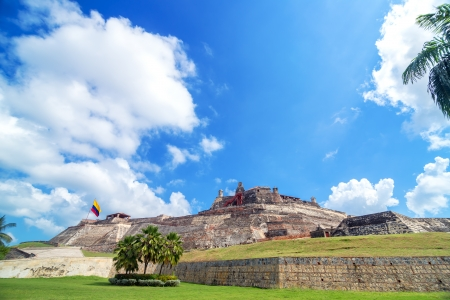 colombia flag: Historic San Felipe de Barajas castle is one of the main attractions in Cartagena, Colombia