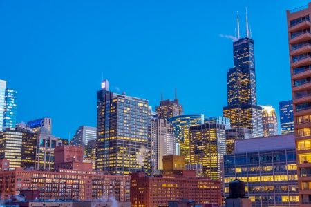 View of downtown Chicago taken during the blue hour Stock Photo