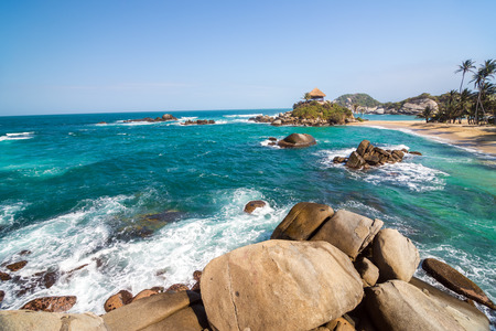 cabo: Beach and turquoise water at Cabo San Juan del Guia in Tayrona National Park in Colombia Stock Photo