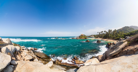 Panoramic view of Cabo San Juan del Guia in Tayrona National Park in Colombia photo