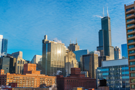 Daytime cityscape view of downtown Chicago Stock Photo