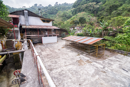 colombian: Coffee processing plant on an organic coffee plantation in Minca, Colombia