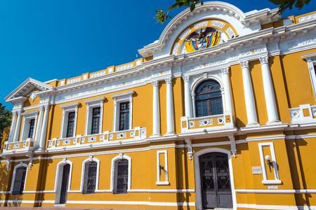 marta: Yellow and white historic city hall of Santa Marta, Colombia